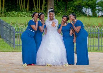 Miriam gets playful with her bridesmaids. COURTESY PHOTOS