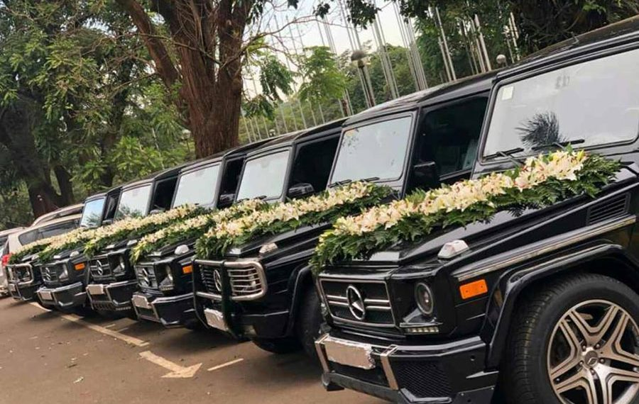 The cars used for the wedding