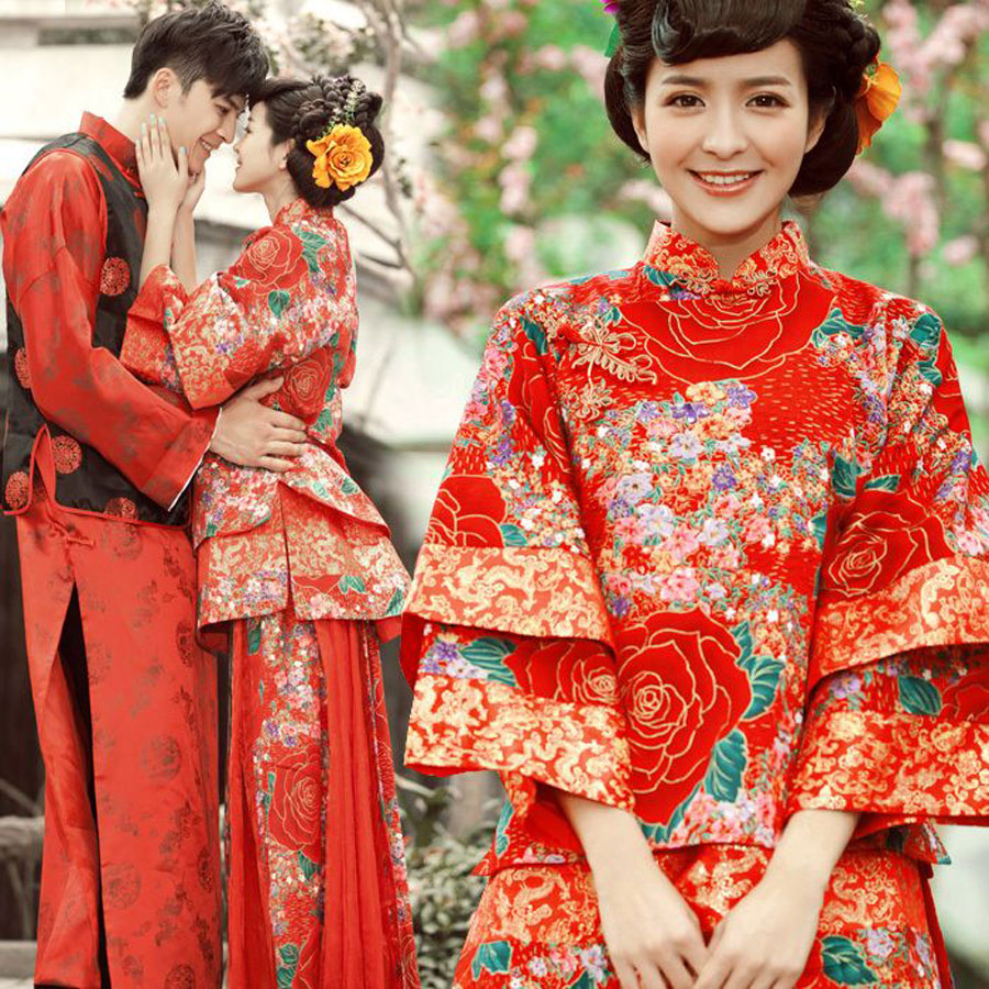 China 1/2 Sleeves Bridal Ball Gown Lace Beaded Custom ...  Chinese Wedding Dresses 2012